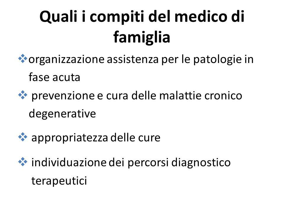 Quali i compiti del medico di famiglia organizzazione assistenza per le patologie in fase acuta prevenzione e cura delle malattie cronico degenerative