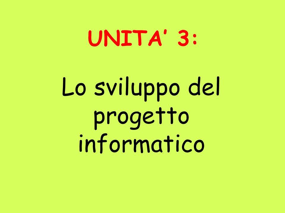 UNITA 3: Lo sviluppo del progetto informatico