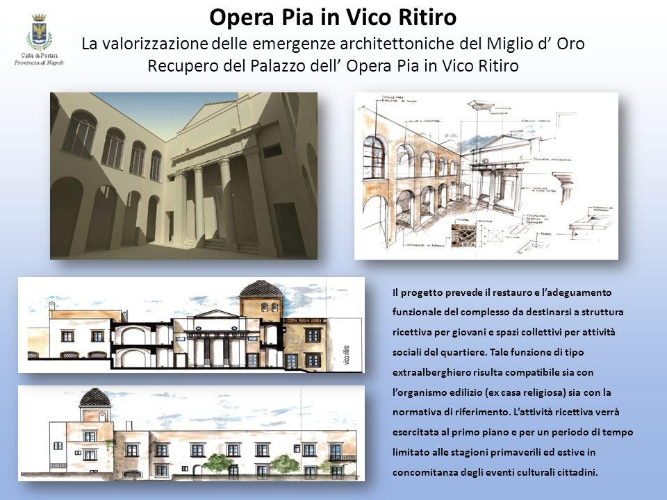 Opera Pia in Vico Ritiro La valorizzazione delle emergenze architettoniche del Miglio d Oro Recupero del Palazzo dell Opera Pia in Vico Ritiro Il prog