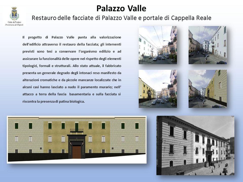 Palazzo Valle Restauro delle facciate di Palazzo Valle e portale di Cappella Reale Il progetto di Palazzo Valle punta alla valorizzazione delledificio