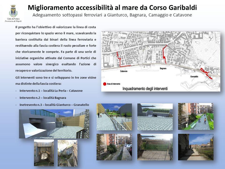Miglioramento accessibilità al mare da Corso Garibaldi Adeguamento sottopassi ferroviari a Gianturco, Bagnara, Camaggio e Catavone Il progetto ha lobi