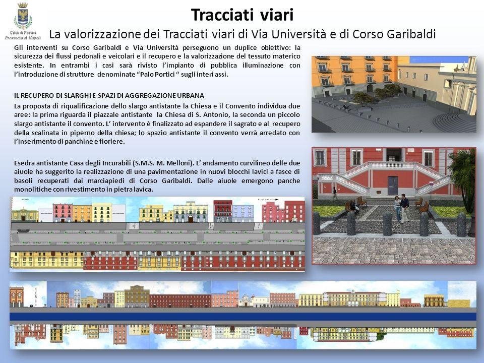 Tracciati viari La valorizzazione dei Tracciati viari di Via Università e di Corso Garibaldi Gli interventi su Corso Garibaldi e Via Università perseg