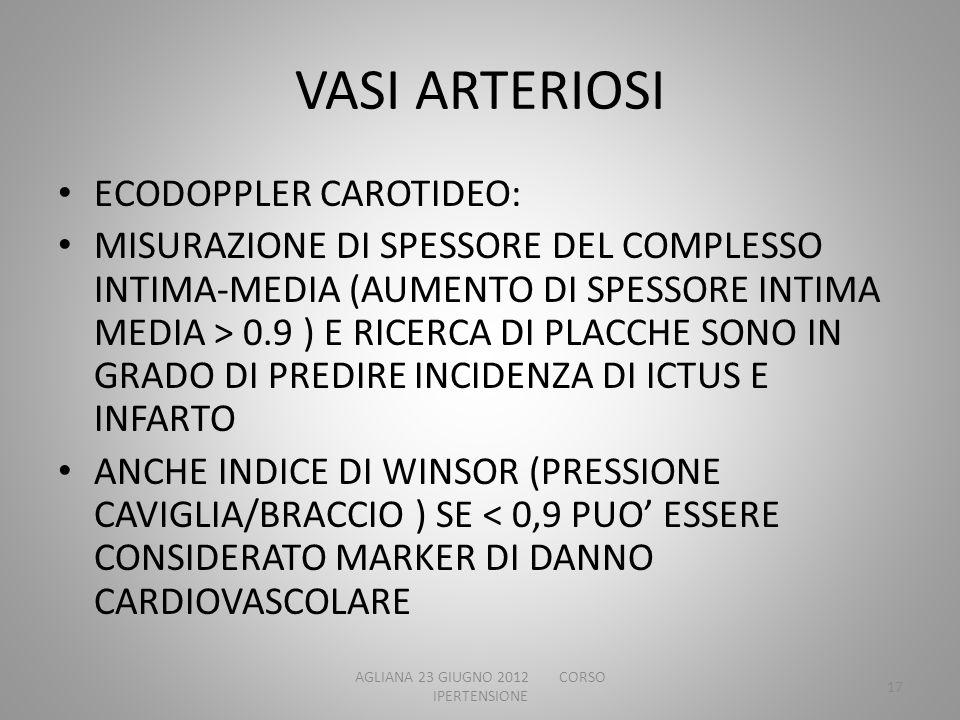 VASI ARTERIOSI ECODOPPLER CAROTIDEO: MISURAZIONE DI SPESSORE DEL COMPLESSO INTIMA-MEDIA (AUMENTO DI SPESSORE INTIMA MEDIA > 0.9 ) E RICERCA DI PLACCHE
