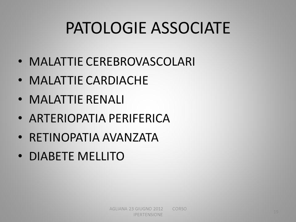 PATOLOGIE ASSOCIATE MALATTIE CEREBROVASCOLARI MALATTIE CARDIACHE MALATTIE RENALI ARTERIOPATIA PERIFERICA RETINOPATIA AVANZATA DIABETE MELLITO AGLIANA