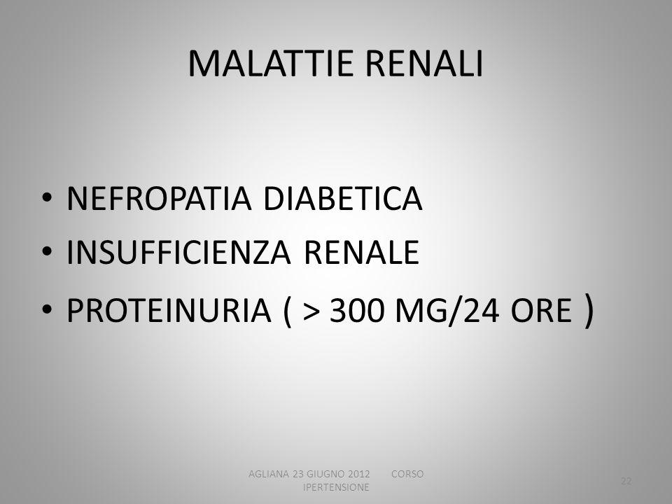 MALATTIE RENALI NEFROPATIA DIABETICA INSUFFICIENZA RENALE PROTEINURIA ( > 300 MG/24 ORE ) AGLIANA 23 GIUGNO 2012 CORSO IPERTENSIONE 22