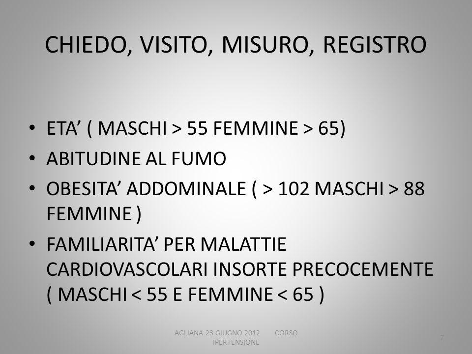 CHIEDO, VISITO, MISURO, REGISTRO ETA ( MASCHI > 55 FEMMINE > 65) ABITUDINE AL FUMO OBESITA ADDOMINALE ( > 102 MASCHI > 88 FEMMINE ) FAMILIARITA PER MA