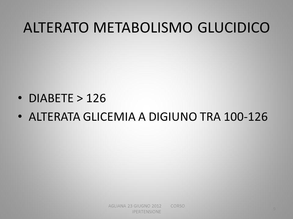 ALTERATO METABOLISMO GLUCIDICO DIABETE > 126 ALTERATA GLICEMIA A DIGIUNO TRA 100-126 AGLIANA 23 GIUGNO 2012 CORSO IPERTENSIONE 9