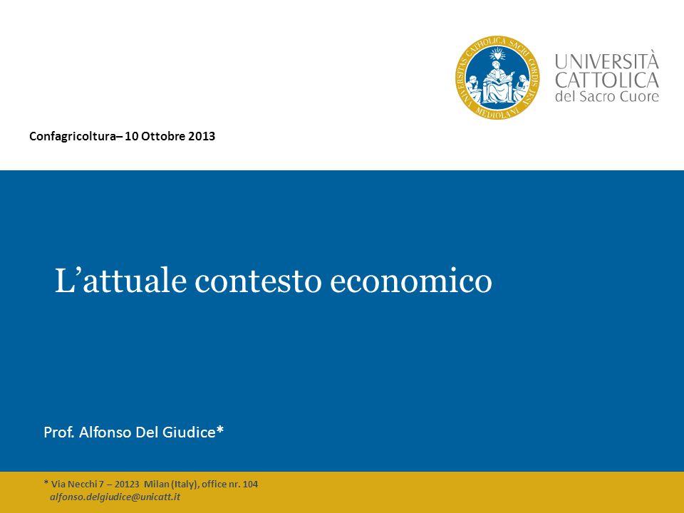 Lattuale contesto economico Prof. Alfonso Del Giudice* * Via Necchi 7 – 20123 Milan (Italy), office nr. 104 alfonso.delgiudice@unicatt.it Confagricolt