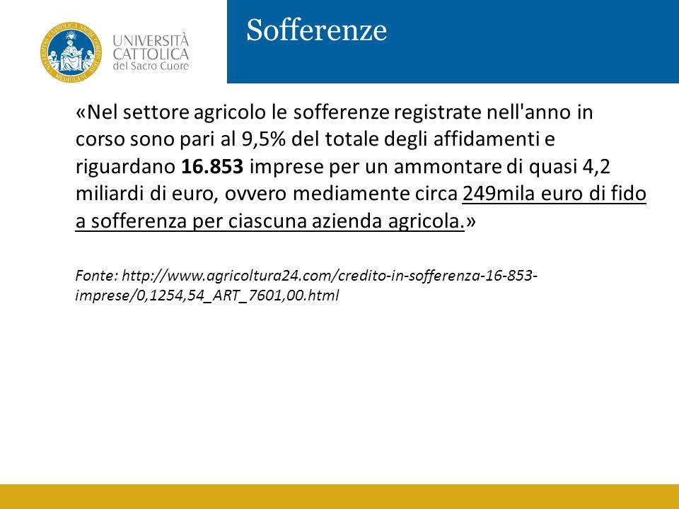 Sofferenze «Nel settore agricolo le sofferenze registrate nell'anno in corso sono pari al 9,5% del totale degli affidamenti e riguardano 16.853 impres