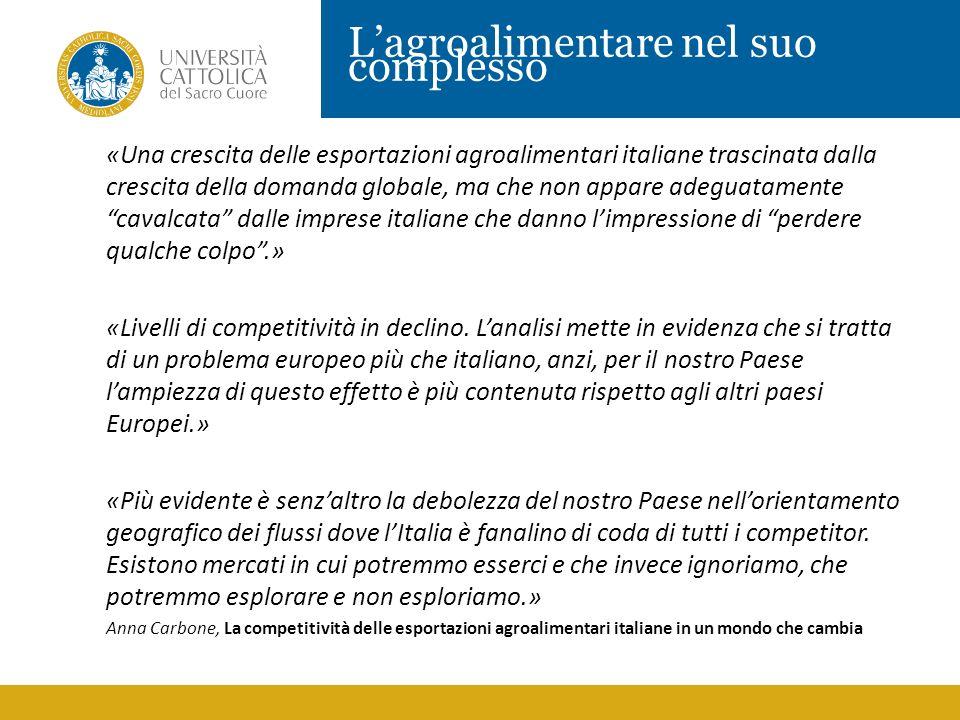 Lagroalimentare nel suo complesso «Una crescita delle esportazioni agroalimentari italiane trascinata dalla crescita della domanda globale, ma che non