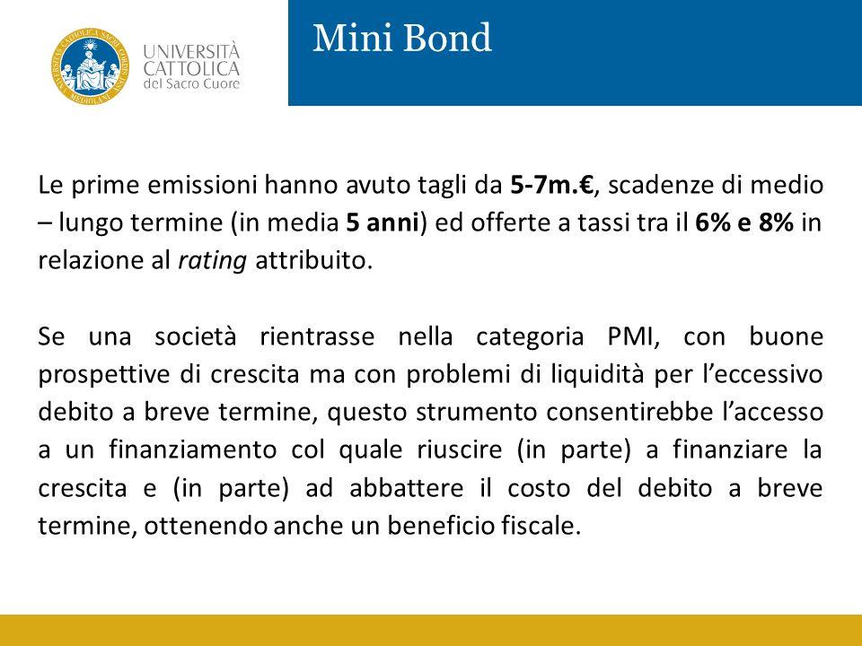 Mini Bond Le prime emissioni hanno avuto tagli da 5-7m., scadenze di medio – lungo termine (in media 5 anni) ed offerte a tassi tra il 6% e 8% in rela