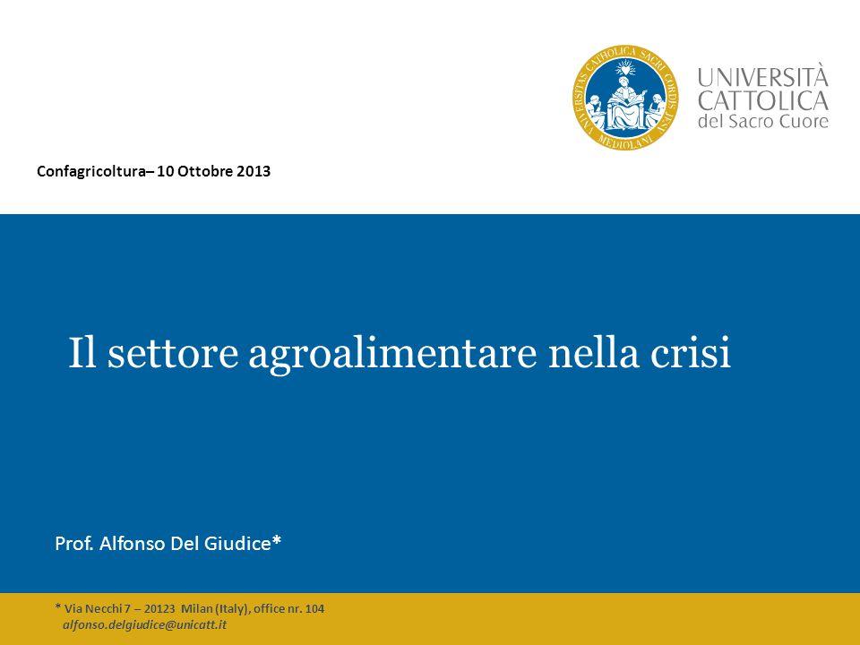 Il settore agroalimentare nella crisi Prof. Alfonso Del Giudice* * Via Necchi 7 – 20123 Milan (Italy), office nr. 104 alfonso.delgiudice@unicatt.it Co