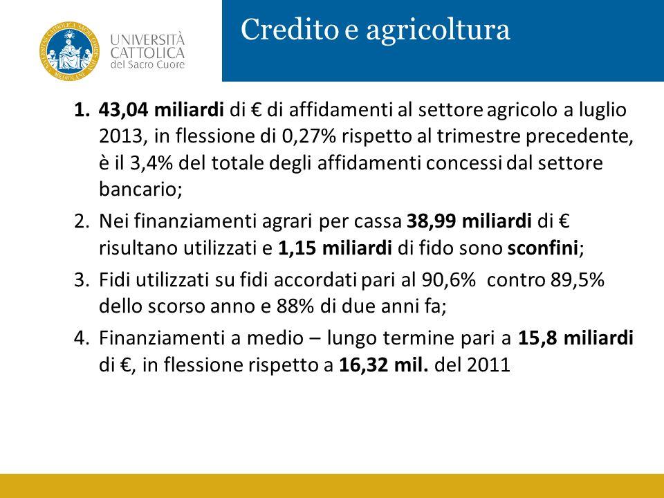 Credito e agricoltura 1.43,04 miliardi di di affidamenti al settore agricolo a luglio 2013, in flessione di 0,27% rispetto al trimestre precedente, è
