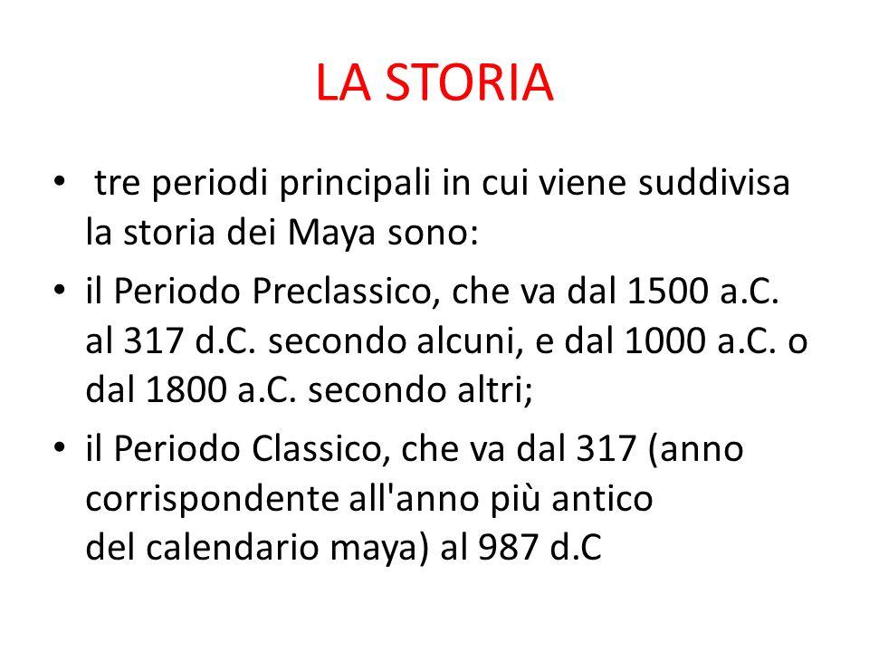 LA STORIA tre periodi principali in cui viene suddivisa la storia dei Maya sono: il Periodo Preclassico, che va dal 1500 a.C.