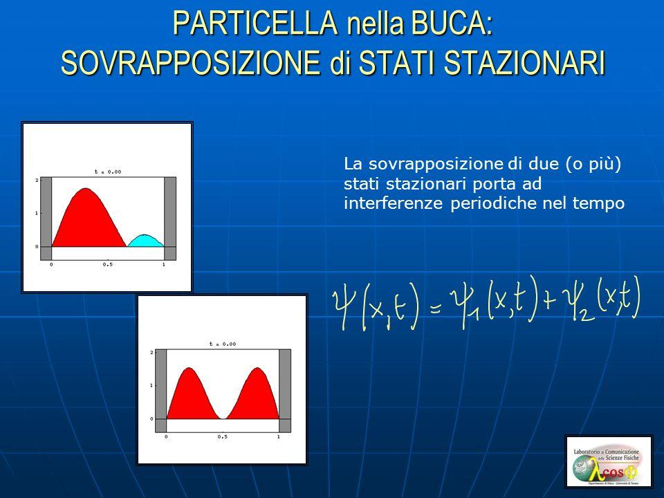 PARTICELLA nella BUCA: SOVRAPPOSIZIONE di STATI STAZIONARI La sovrapposizione di due (o più) stati stazionari porta ad interferenze periodiche nel tempo