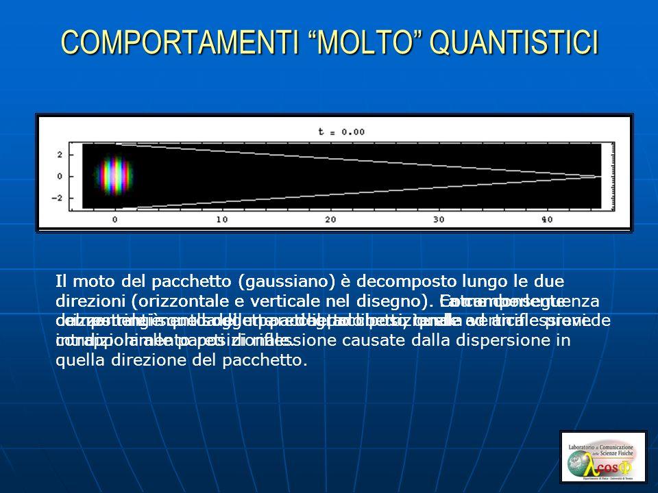 COMPORTAMENTI MOLTO QUANTISTICI Il moto del pacchetto (gaussiano) è decomposto lungo le due direzioni (orizzontale e verticale nel disegno). La compon