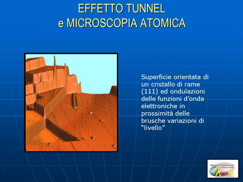 EFFETTO TUNNEL e MICROSCOPIA ATOMICA Superficie orientata di un cristallo di rame (111) ed ondulazioni delle funzioni donda elettroniche in prossimità delle brusche variazioni di livello