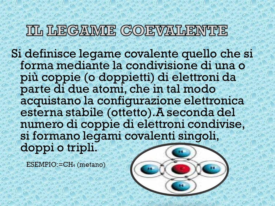 Si definisce legame covalente quello che si forma mediante la condivisione di una o più coppie (o doppietti) di elettroni da parte di due atomi, che in tal modo acquistano la configurazione elettronica esterna stabile (ottetto).A seconda del numero di coppie di elettroni condivise, si formano legami covalenti singoli, doppi o tripli.
