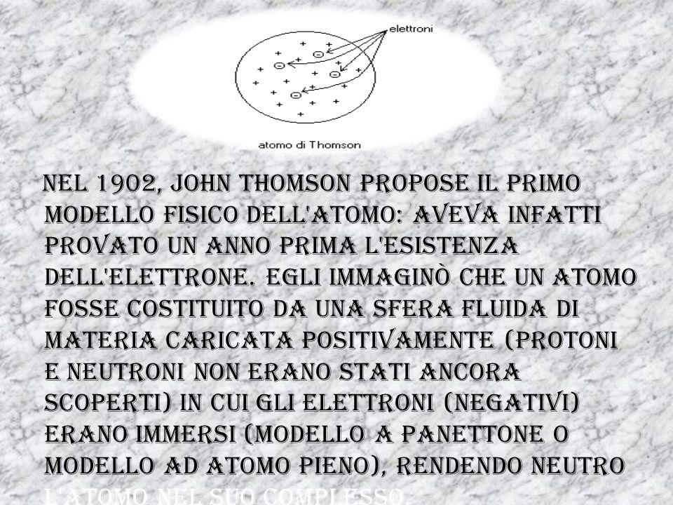 Nel 1902, John Thomson propose il primo modello fisico dell atomo: aveva infatti provato un anno prima l esistenza dell elettrone.