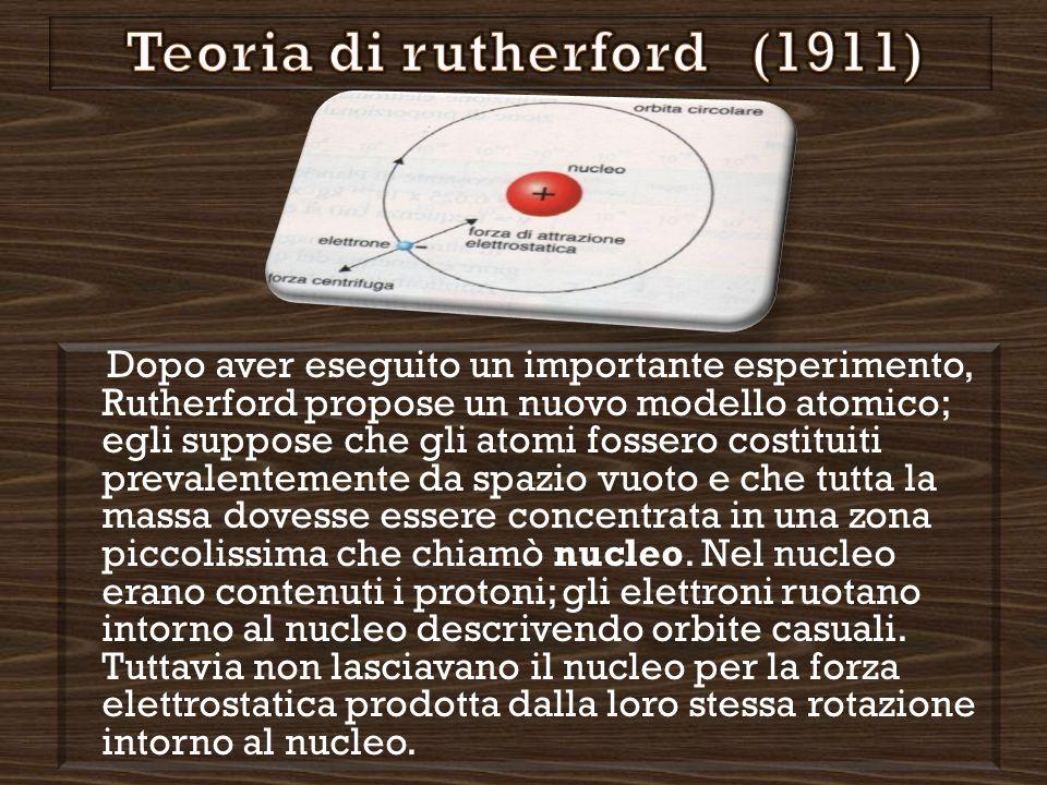 Dopo aver eseguito un importante esperimento, Rutherford propose un nuovo modello atomico; egli suppose che gli atomi fossero costituiti prevalentemente da spazio vuoto e che tutta la massa dovesse essere concentrata in una zona piccolissima che chiamò nucleo.