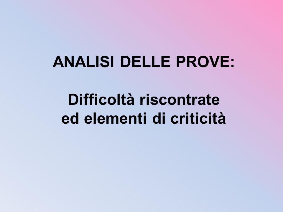 ANALISI DELLE PROVE: Difficoltà riscontrate ed elementi di criticità