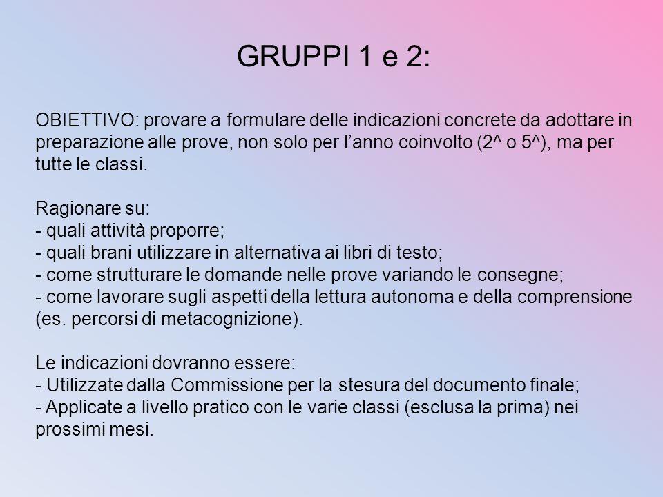 GRUPPI 1 e 2: OBIETTIVO: provare a formulare delle indicazioni concrete da adottare in preparazione alle prove, non solo per lanno coinvolto (2^ o 5^)