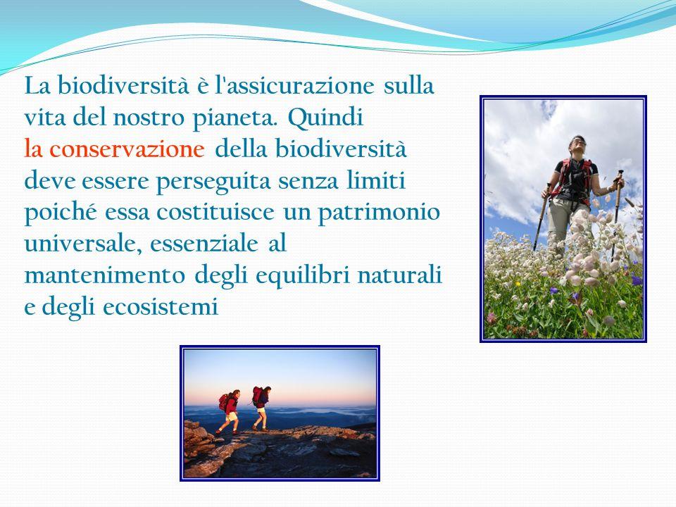 La biodiversità è l'assicurazione sulla vita del nostro pianeta. Quindi la conservazione della biodiversità deve essere perseguita senza limiti poiché