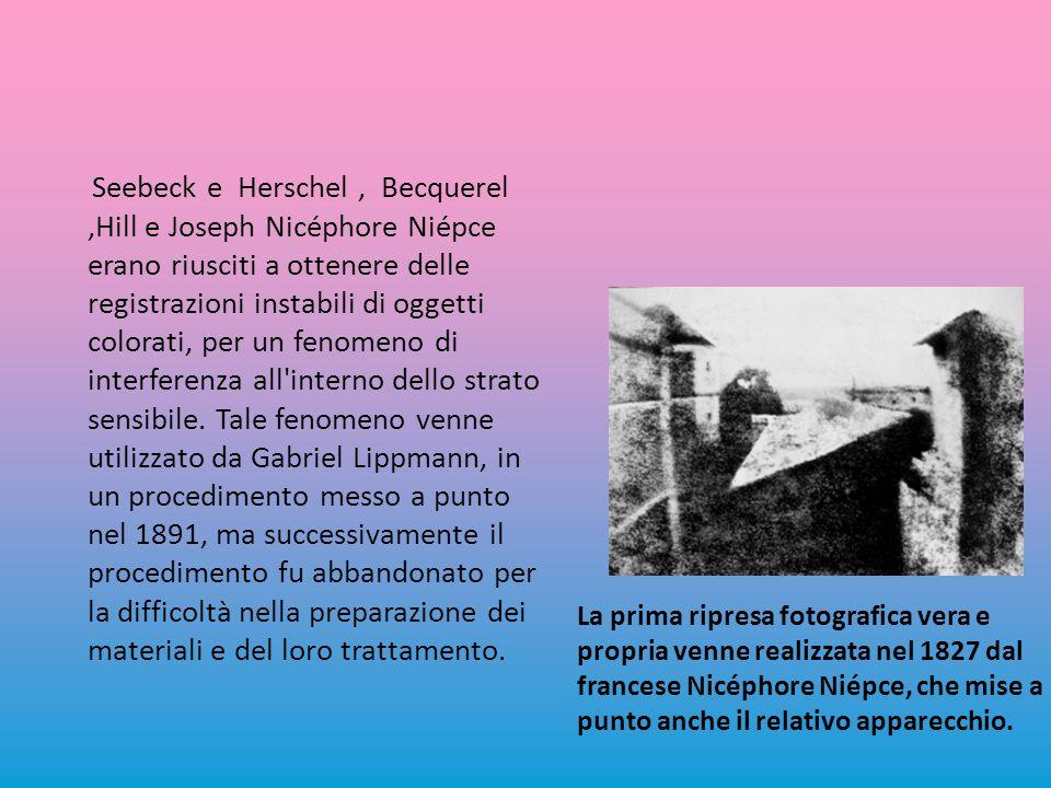 Seebeck e Herschel, Becquerel,Hill e Joseph Nicéphore Niépce erano riusciti a ottenere delle registrazioni instabili di oggetti colorati, per un fenomeno di interferenza all interno dello strato sensibile.