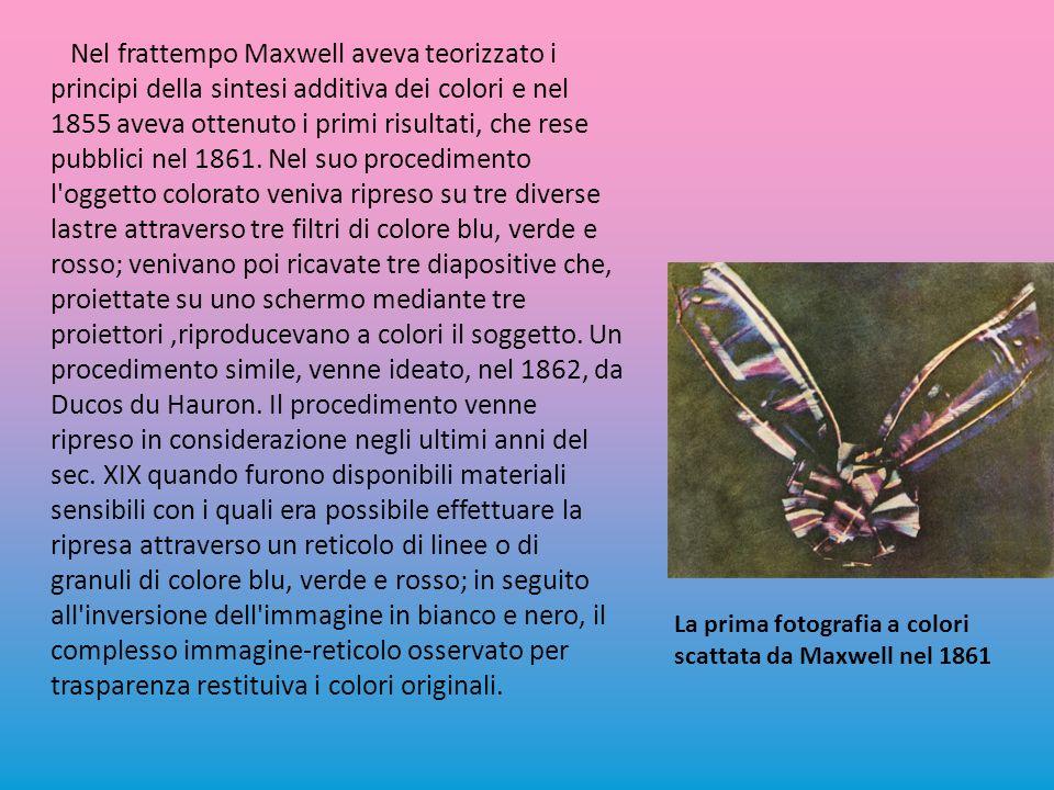 Nel frattempo Maxwell aveva teorizzato i principi della sintesi additiva dei colori e nel 1855 aveva ottenuto i primi risultati, che rese pubblici nel 1861.