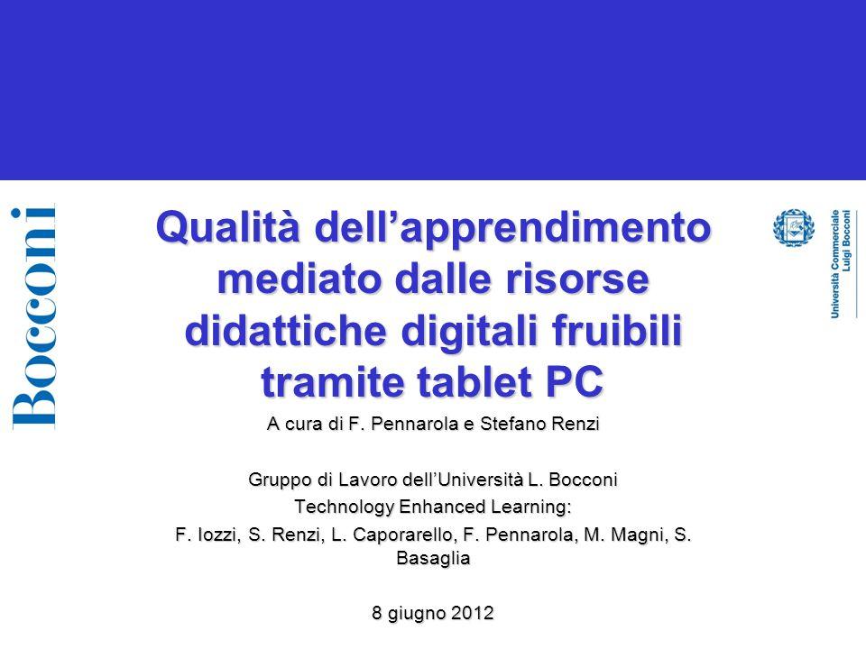 Qualità dellapprendimento mediato dalle risorse didattiche digitali fruibili tramite tablet PC A cura di F.