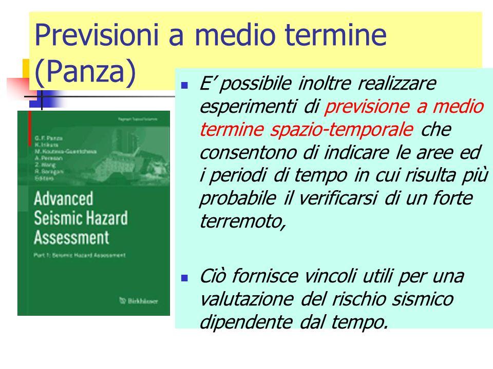 Previsioni a medio termine (Panza) E possibile inoltre realizzare esperimenti di previsione a medio termine spazio-temporale che consentono di indicar