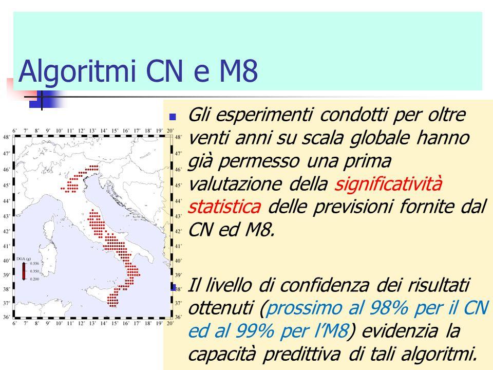 Algoritmi CN e M8 Gli esperimenti condotti per oltre venti anni su scala globale hanno già permesso una prima valutazione della significatività statis