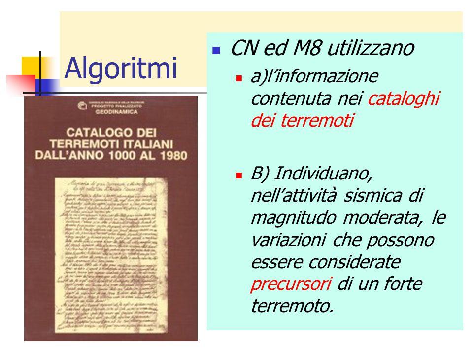 Algoritmi CN ed M8 utilizzano a)linformazione contenuta nei cataloghi dei terremoti B) Individuano, nellattività sismica di magnitudo moderata, le var