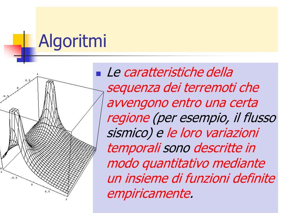 Algoritmi Le caratteristiche della sequenza dei terremoti che avvengono entro una certa regione (per esempio, il flusso sismico) e le loro variazioni