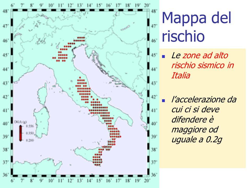 Mappa del rischio Le zone ad alto rischio sismico in Italia laccelerazione da cui ci si deve difendere è maggiore od uguale a 0.2g