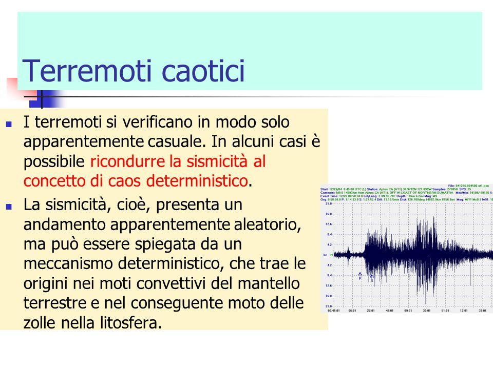 Terremoti caotici I terremoti si verificano in modo solo apparentemente casuale. In alcuni casi è possibile ricondurre la sismicità al concetto di cao