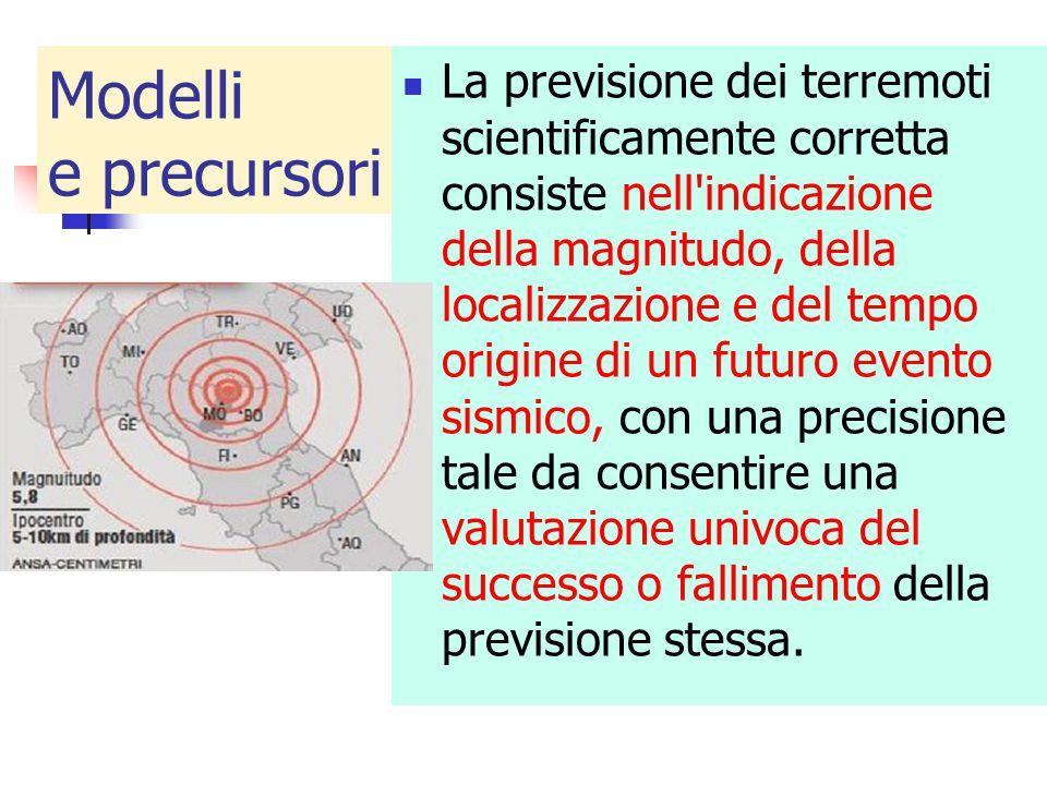 Modelli e precursori La previsione dei terremoti scientificamente corretta consiste nell'indicazione della magnitudo, della localizzazione e del tempo
