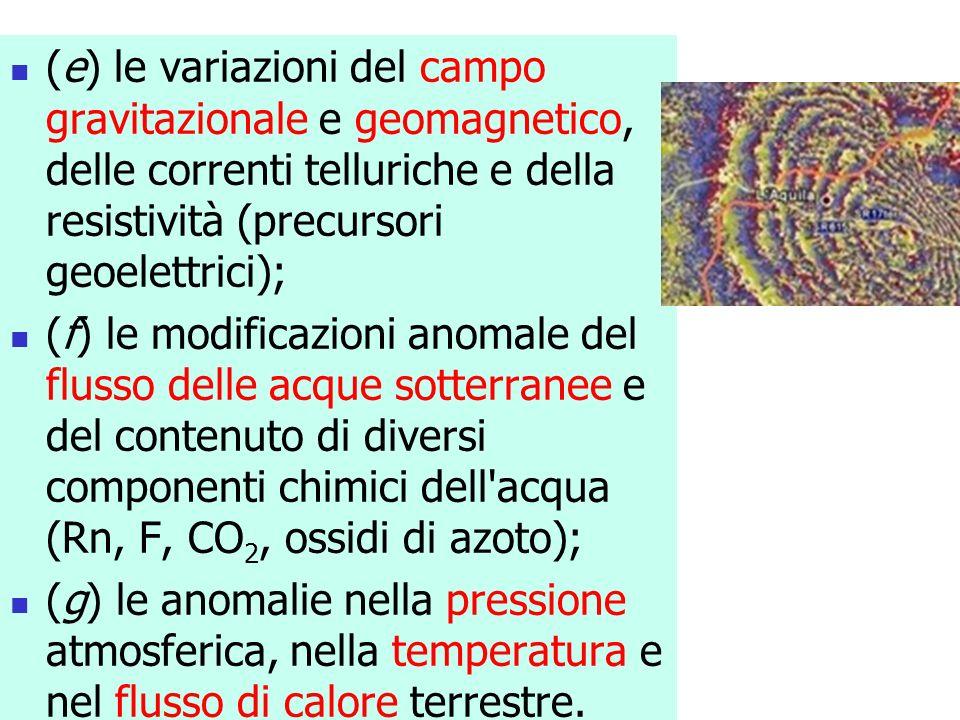(e) le variazioni del campo gravitazionale e geomagnetico, delle correnti telluriche e della resistività (precursori geoelettrici); (f) le modificazio