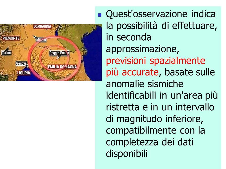 Quest'osservazione indica la possibilità di effettuare, in seconda approssimazione, previsioni spazialmente più accurate, basate sulle anomalie sismic