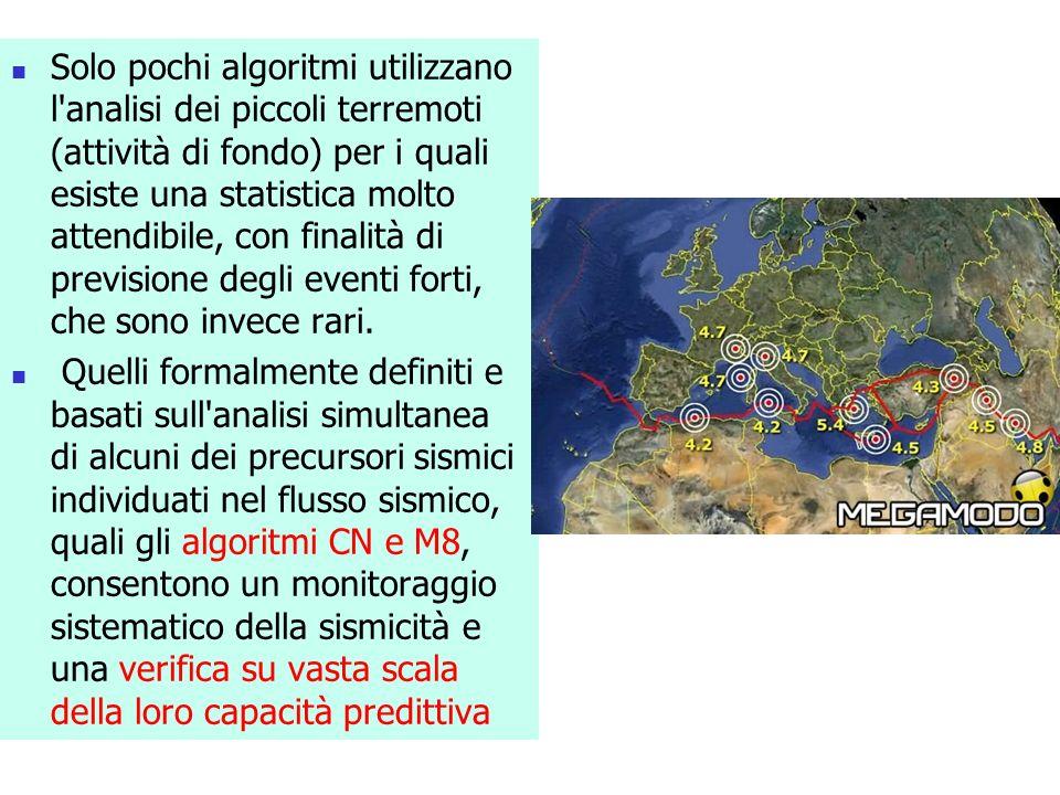 Solo pochi algoritmi utilizzano l'analisi dei piccoli terremoti (attività di fondo) per i quali esiste una statistica molto attendibile, con finalità