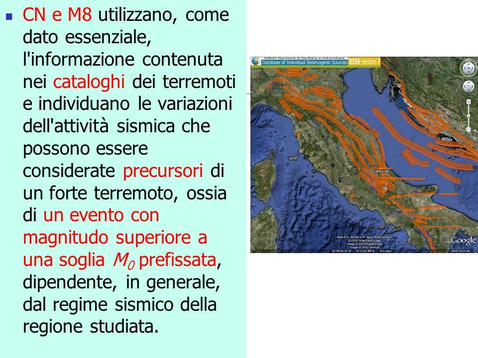 CN e M8 utilizzano, come dato essenziale, l'informazione contenuta nei cataloghi dei terremoti e individuano le variazioni dell'attività sismica che p