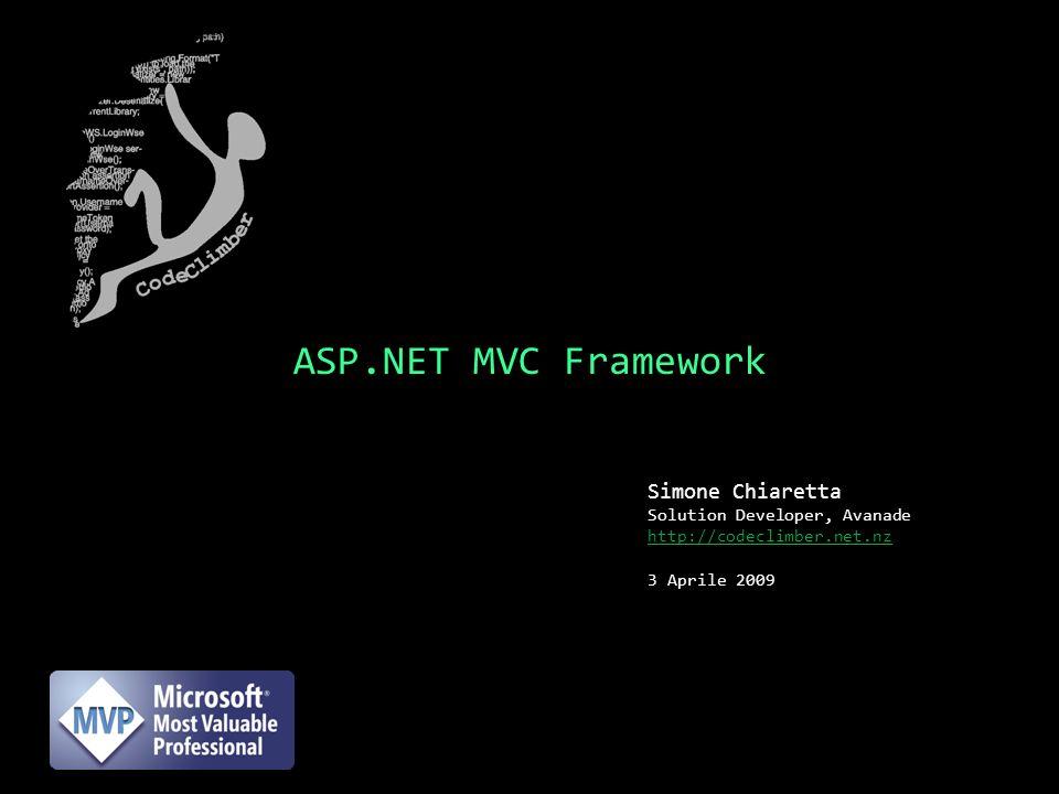 ASP.NET MVC Framework Simone Chiaretta Solution Developer, Avanade http://codeclimber.net.nz 3 Aprile 2009