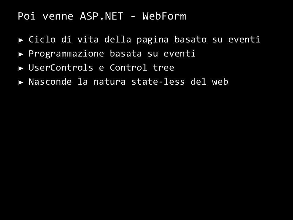 Ciclo di vita della pagina basato su eventi Programmazione basata su eventi UserControls e Control tree Nasconde la natura state-less del web 9