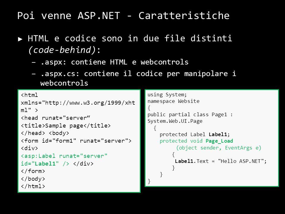 Poi venne ASP.NET - Caratteristiche HTML e codice sono in due file distinti (code-behind): –.aspx: contiene HTML e webcontrols –.aspx.cs: contiene il codice per manipolare i webcontrols 10 <head runat= server Sample page using System; namespace Website { public partial class Page1 : System.Web.UI.Page { protected Label Label1; protected void Page_Load (object sender, EventArgs e) { Label1.Text = Hello ASP.NET ; }