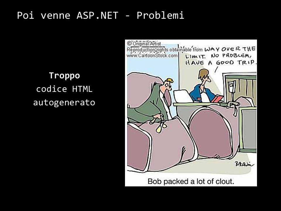 Poi venne ASP.NET - Problemi Troppo codice HTML autogenerato