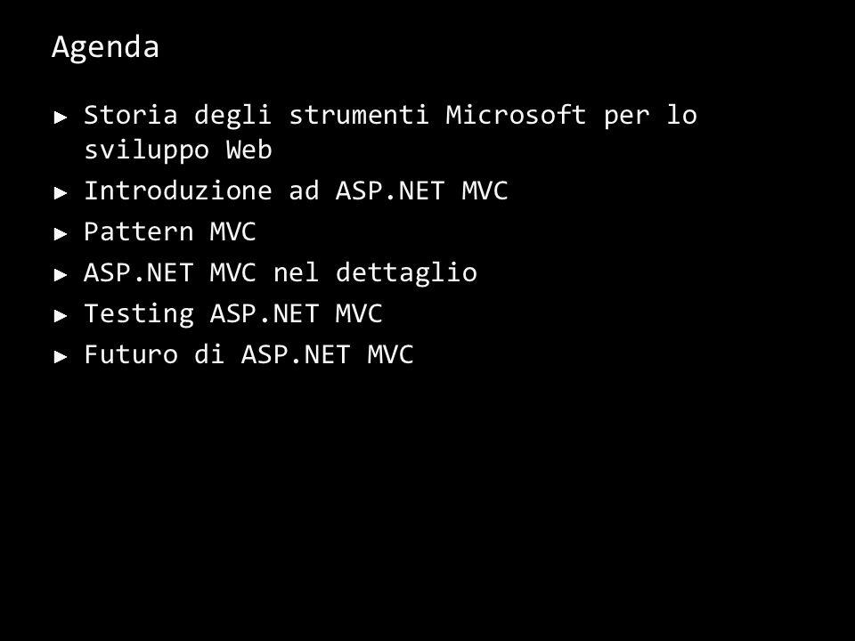 Agenda Storia degli strumenti Microsoft per lo sviluppo Web Introduzione ad ASP.NET MVC Pattern MVC ASP.NET MVC nel dettaglio Testing ASP.NET MVC Futuro di ASP.NET MVC 2