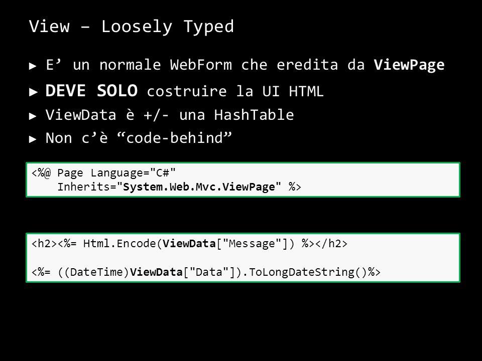 View – Loosely Typed E un normale WebForm che eredita da ViewPage DEVE SOLO costruire la UI HTML ViewData è +/- una HashTable Non cè code-behind 30 <%@ Page Language= C# Inherits= System.Web.Mvc.ViewPage %>
