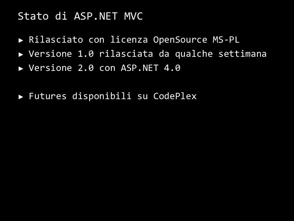 Stato di ASP.NET MVC Rilasciato con licenza OpenSource MS-PL Versione 1.0 rilasciata da qualche settimana Versione 2.0 con ASP.NET 4.0 Futures disponibili su CodePlex 39