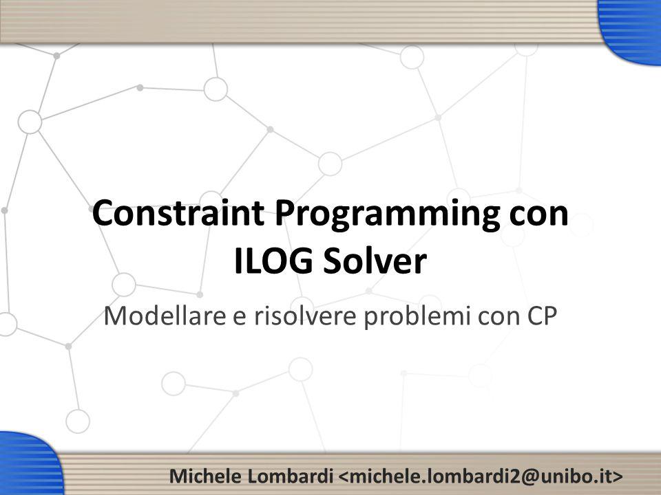 Struttura di un programma ILOG 12 Modellare un problema #include ILOSTLBEGIN int main(int argc, char** argv){ IloEnv env; IloModel model(env); } Per usare concert e solver MACRO: definisce il namespace std IloEnv: gestore della memoria, fa da contenitore per il modello Classe che rappresenta un modello Variabili e vincoli vengono aggiunti al modello