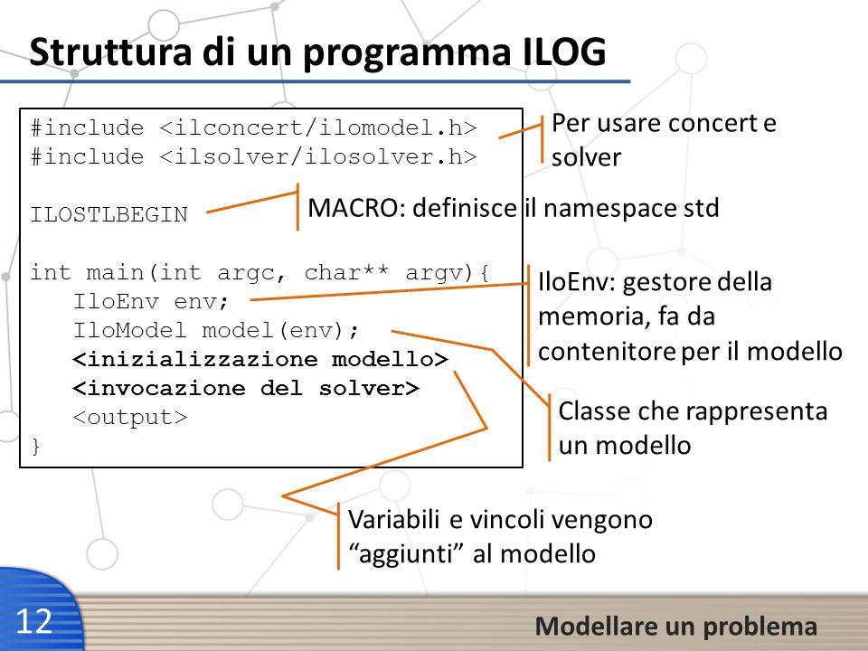 Struttura di un programma ILOG 12 Modellare un problema #include ILOSTLBEGIN int main(int argc, char** argv){ IloEnv env; IloModel model(env); } Per u